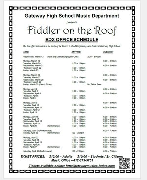 Musical Box Office Schedule