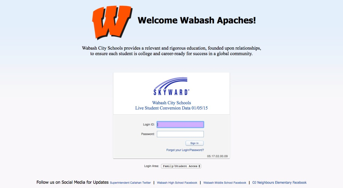 Wabash City Schools Skyward Login page