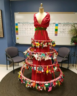 Christmas Dress with ornaments made by fashion class students