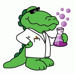 science gator with a bubbling beeker
