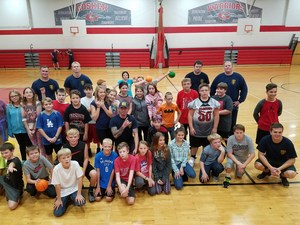 Students and First Responders play dodgeball.