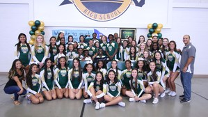 CJ Hawkins with the rest of the Tahquitz High School cheer team
