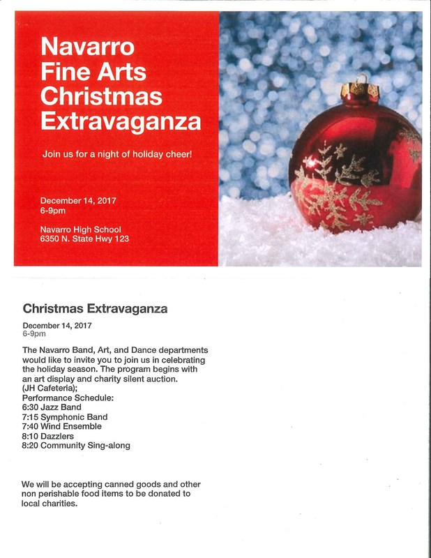 poster with the information about event.  red background white text picture of ornament.