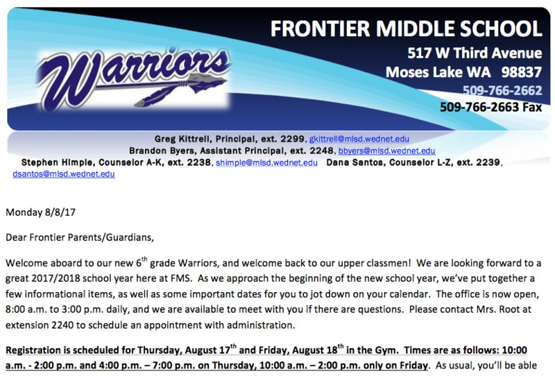 FMS Back to School newsletter clip
