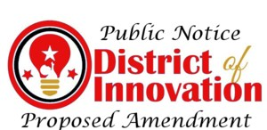 Lightbulb with the words District of Innovation Proposed Amendment in text