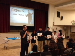 Tom Thelen speaking about Bullying and Cyberbullying during the presentation.