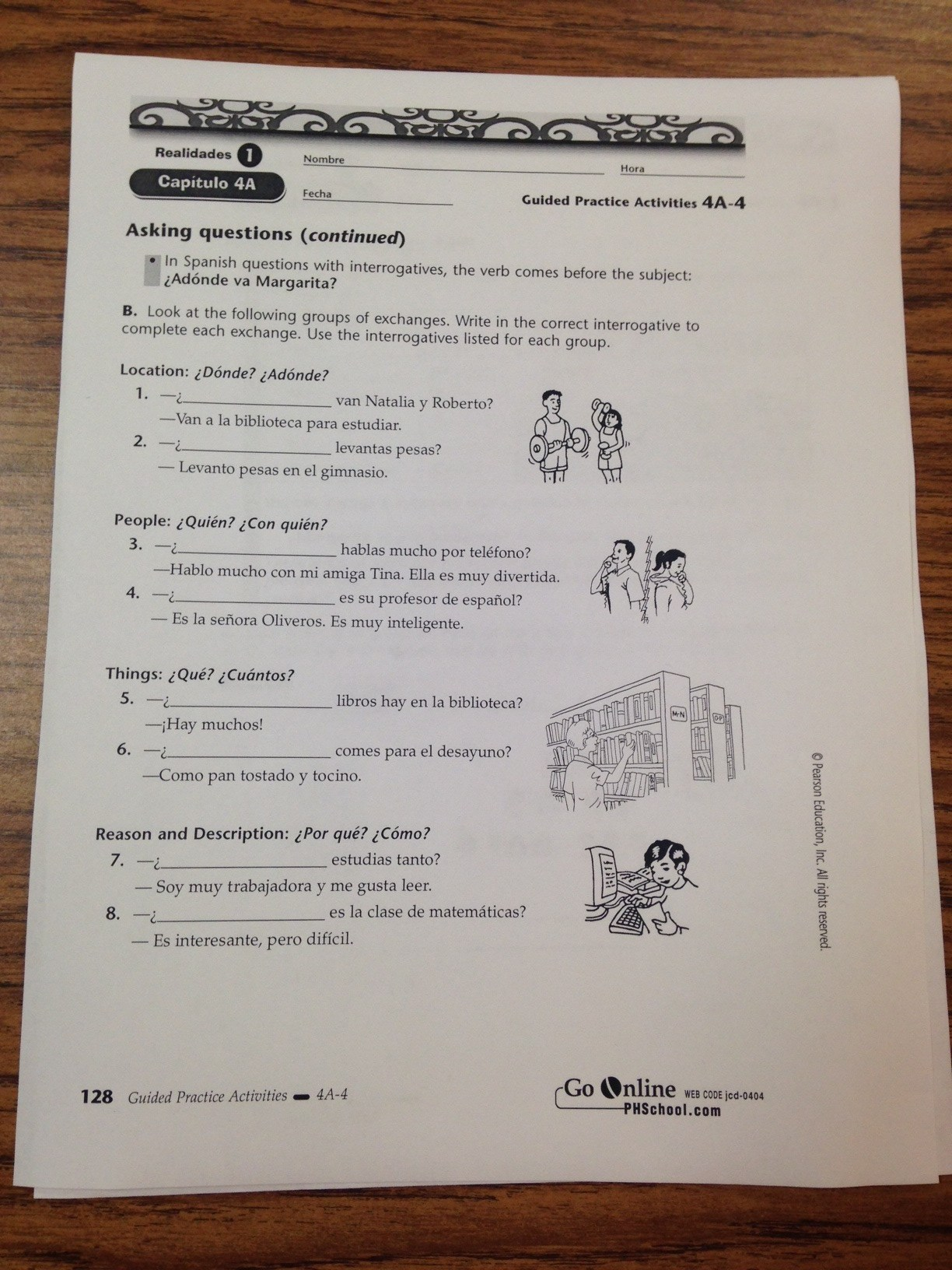 Rowland High School – Spanish 2 Worksheet Answers