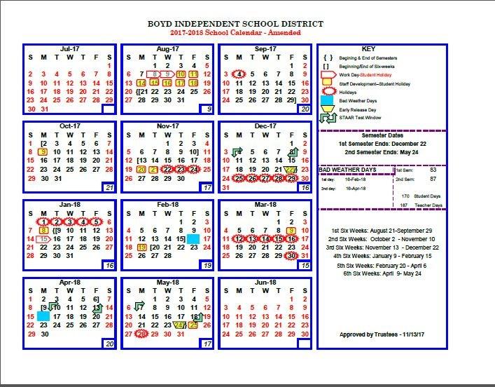 Boyd ISD 2017/2018 Calendar Amended 11-13 Thumbnail Image