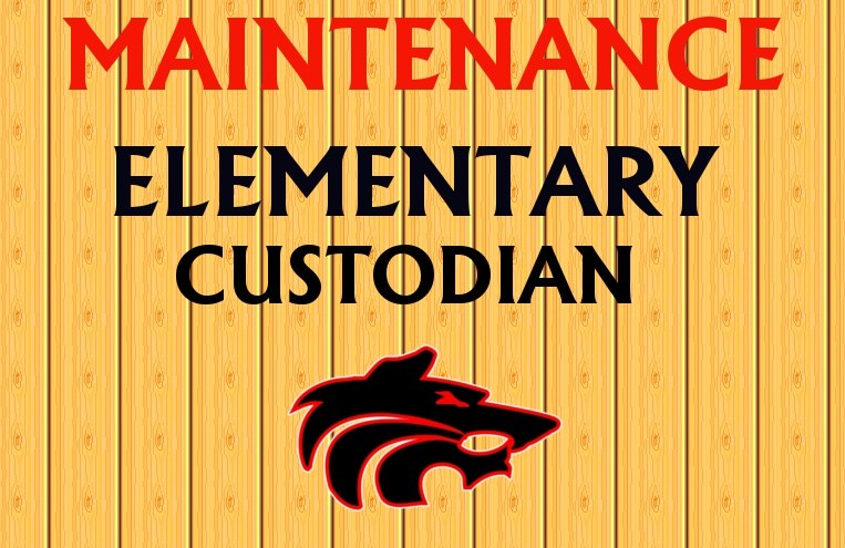 Wolf logo with text of Maintenance Elementary Custodian