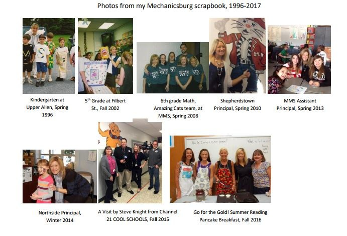 Picture Collage of Mrs. Ecker through the years at Mechanicsburg