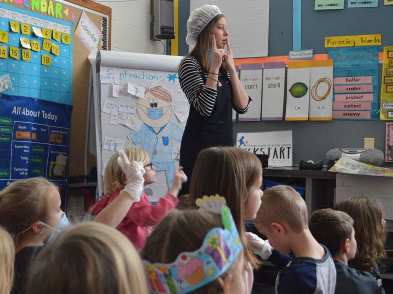 McFall teacher Brittany Brown dresses up to help excite her students about learning.