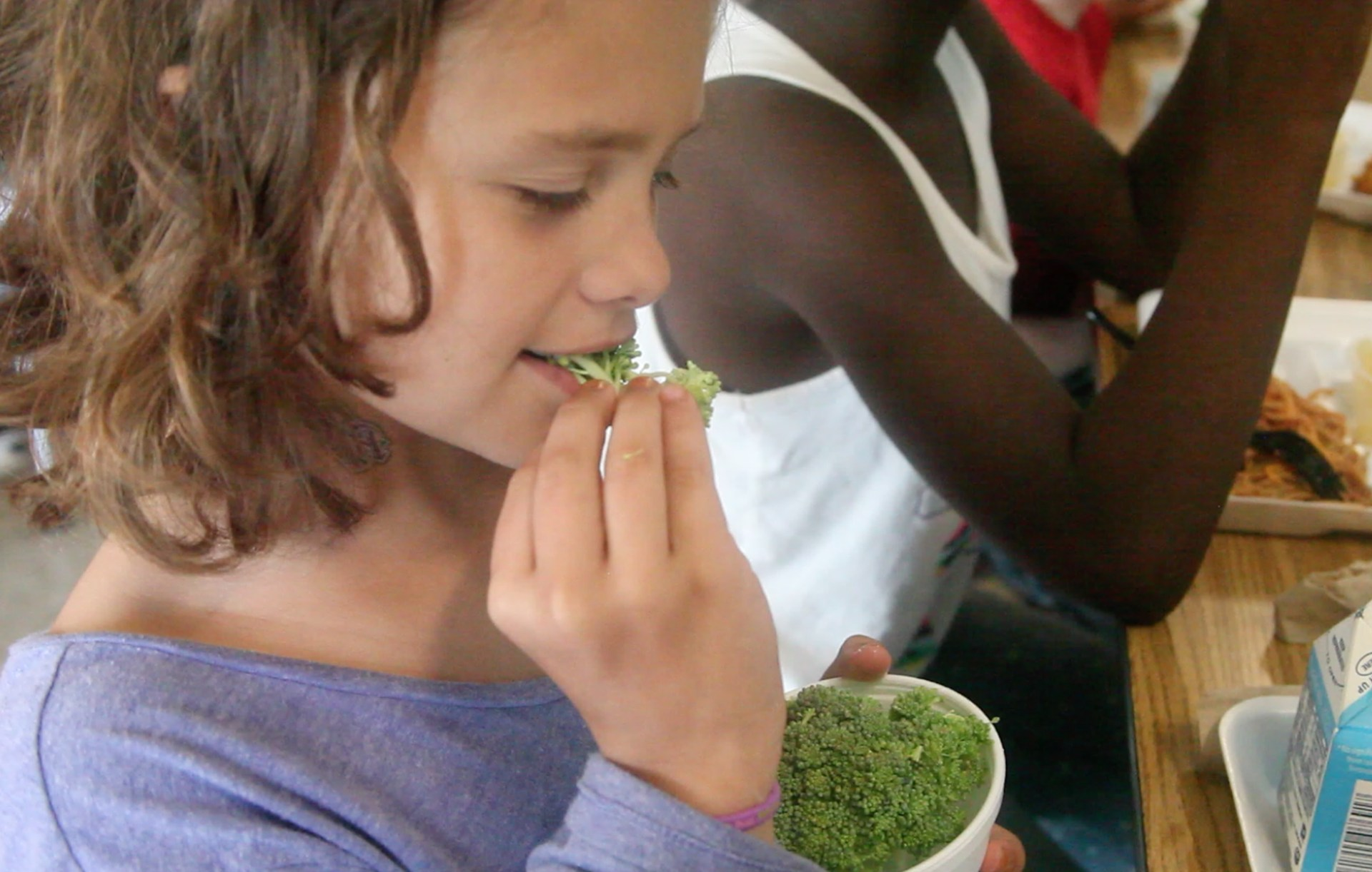 Girl Eating Fresh Broccoli
