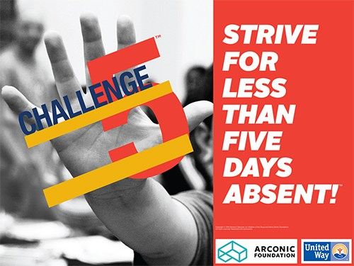 Strive for Less than 5 Days Absent logo/sign.