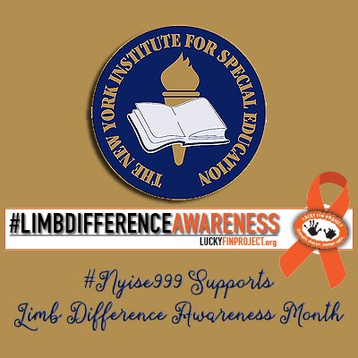 "School logo over a banner with #limbdifferenceawareness with orange ribbon with the words ""NYISE999 supports Limb Difference Awareness Month"