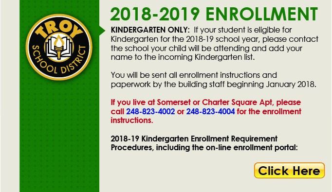 2018-2019 Kindergarten Online Enrollment Button.  This page links to website.