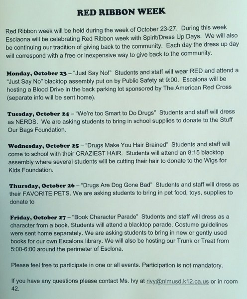 Red Ribbon Week October 23 - October 27, 2017 Featured Photo