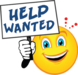 Help wanted sign held by smiley face