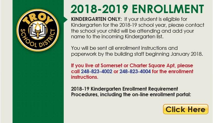 2018-2019 Kindergarten Online Enrollment Button.  This page links to website.
