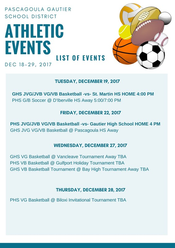 Athletic Events for Weeks of Dec. 18 - 30, 2017
