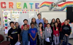 Senator Dr. Richard Pan and Bell Avenue students