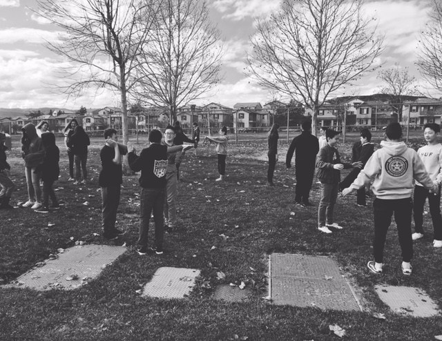 Theater students outside practicing.