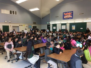 Students and Parents gathered in cafeteria for award ceremony