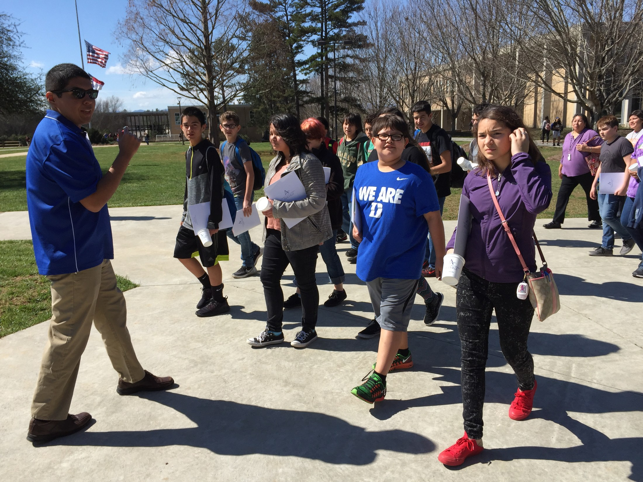 CMS TaG Students Tour UNCA with Native America n Student Association (NASA) Faculty Sponsor Dr. Trey Adcock and Club President Devyn Smith