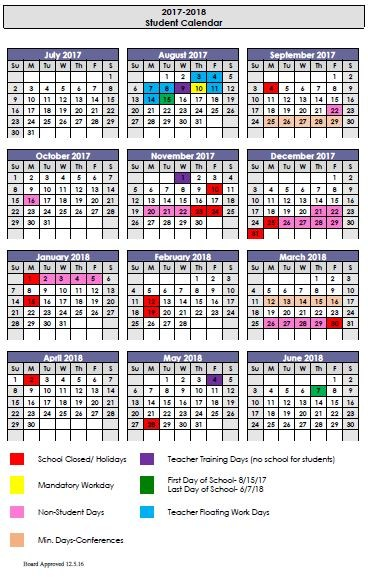 2017-18 Instructional Calendar