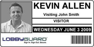 Sample badge created from LobbyGuard Visitor Management System.