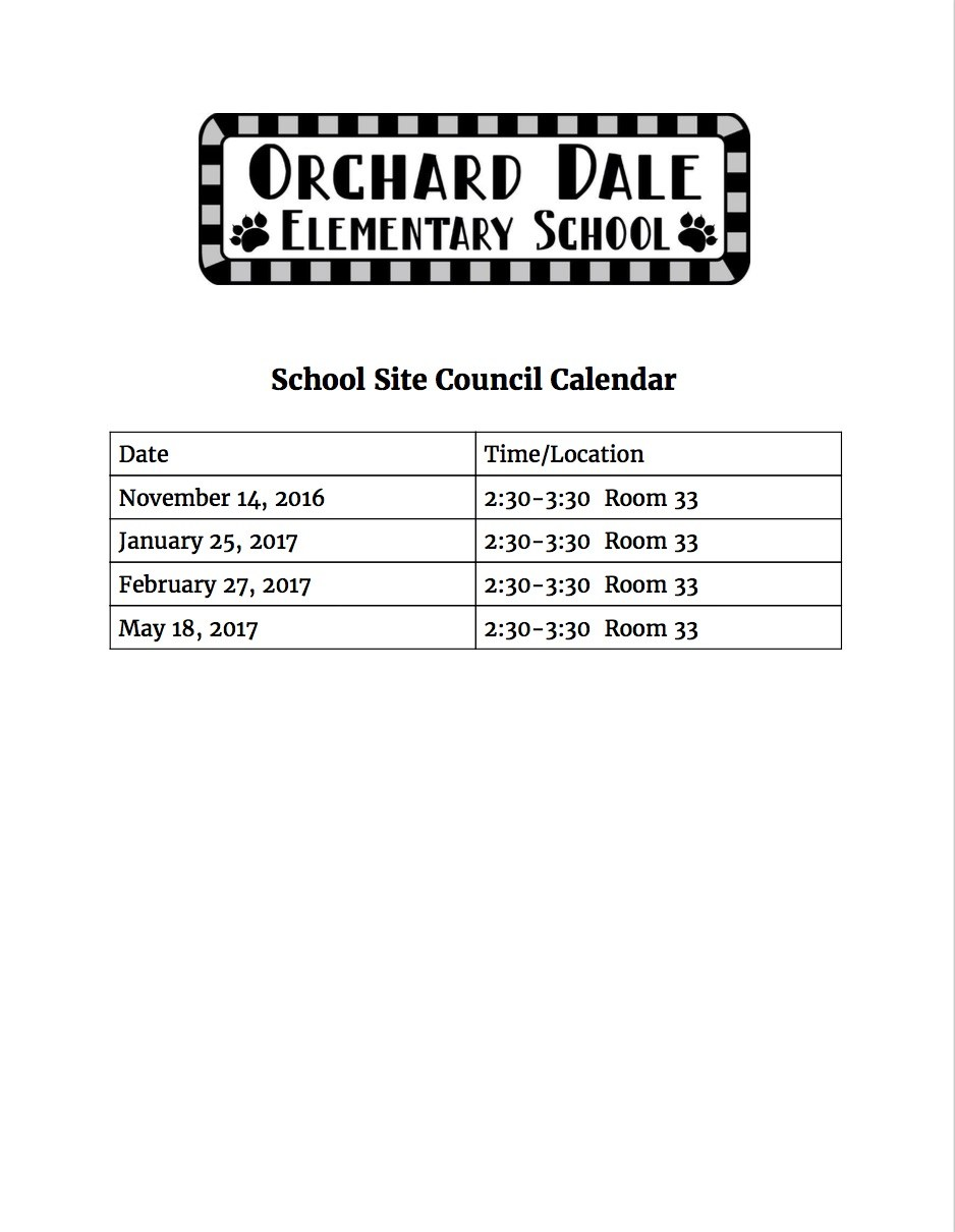 School Site Council calendar flyer