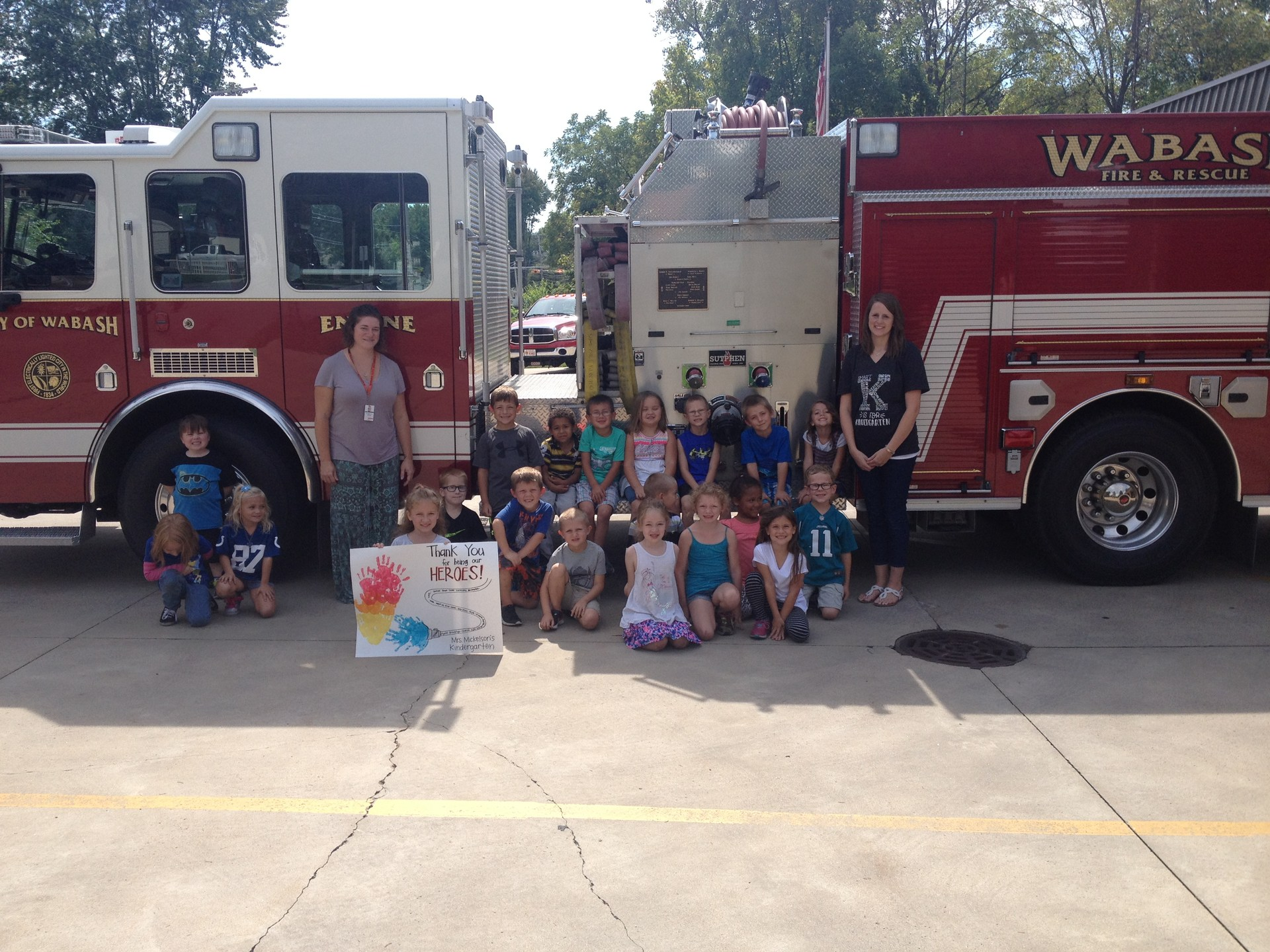Kindergartners at fire station.