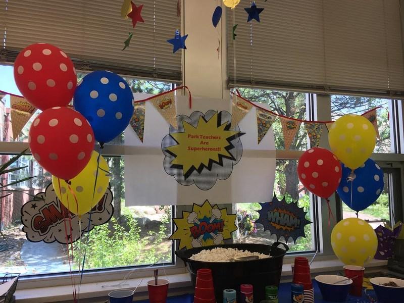 Superhero party celebrating teachers.