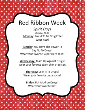 Red Ribbon Week Information in a white frame on red background
