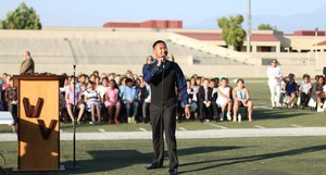 Ernesto Calumpang, Tahquitz senior, speaking to students.