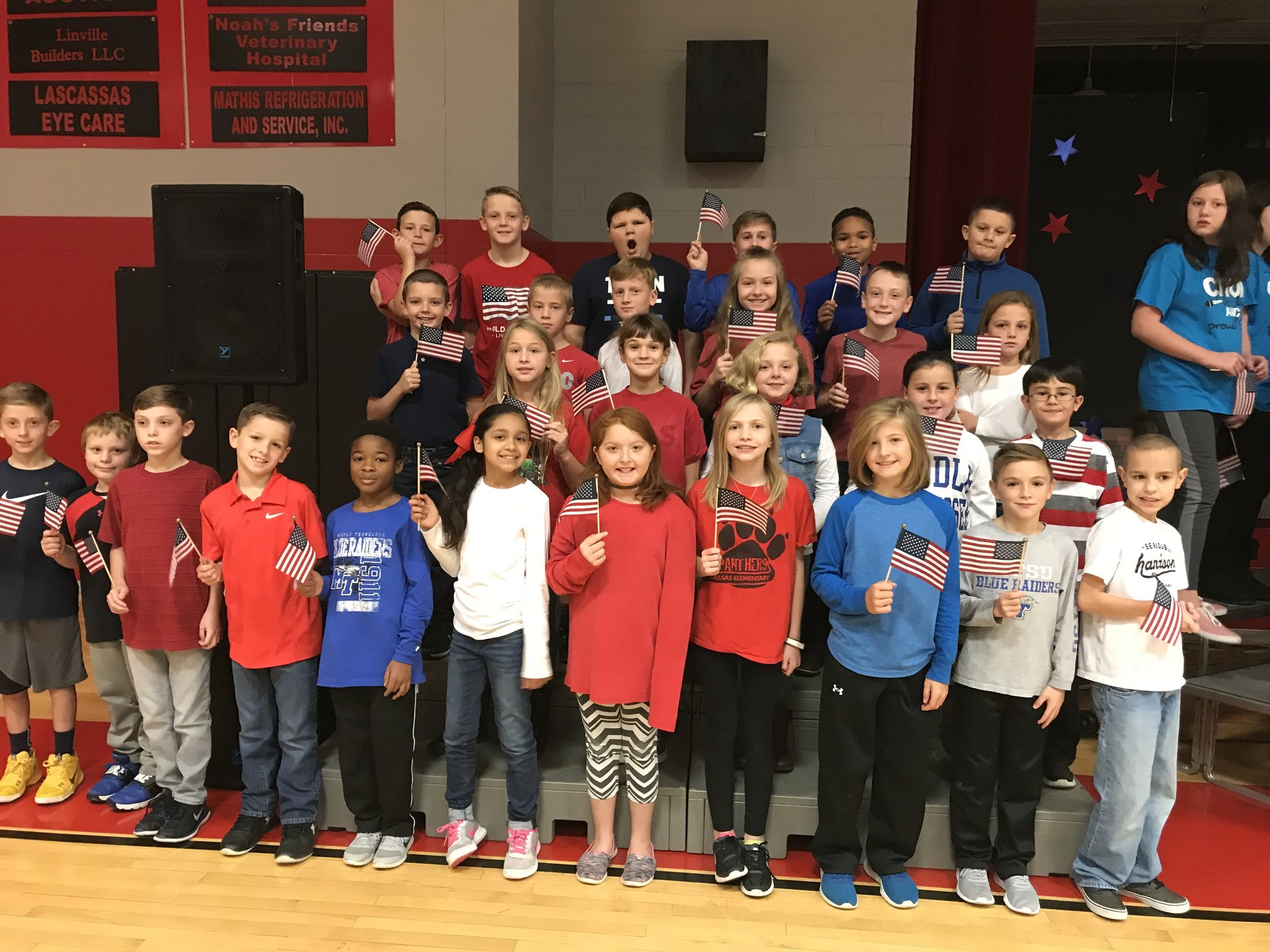 4th graders performing for the 2017 Veterans Day program
