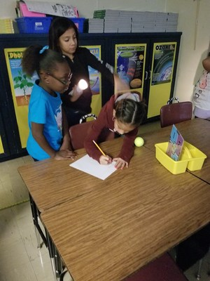 Mrs. July's 5th grade class at Shields Elementary School learned how an eclipse occurs
