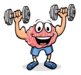brain clip art holding up weights