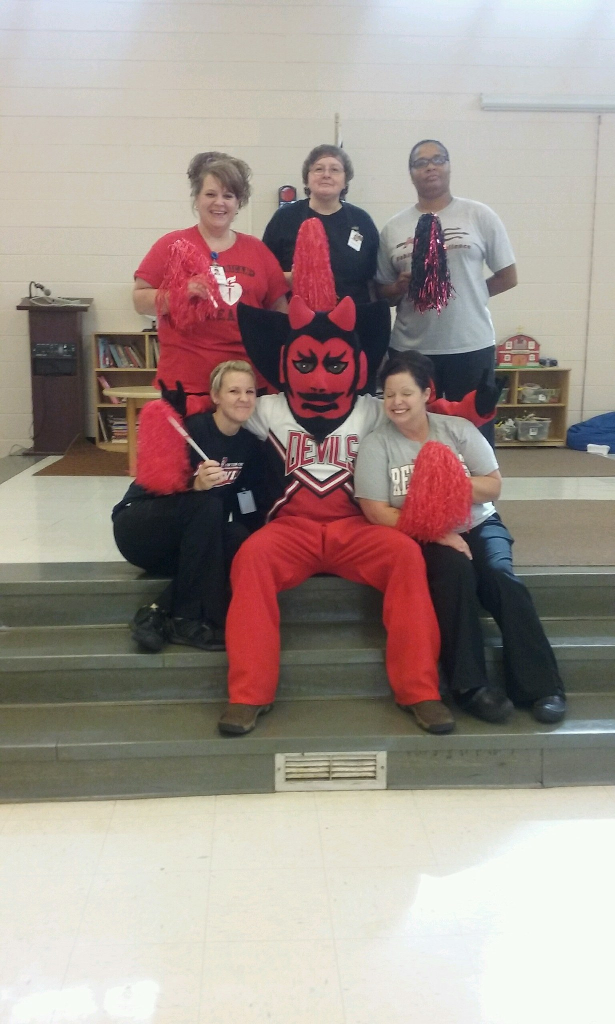 The Red Devil with Shuford's School Nutrition Staff