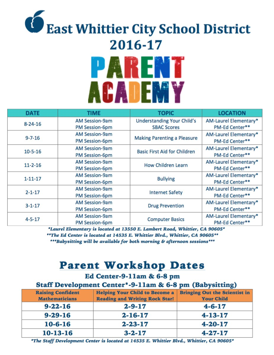 Parent Academy information flyer