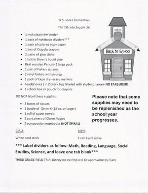3rd Grade Supply List