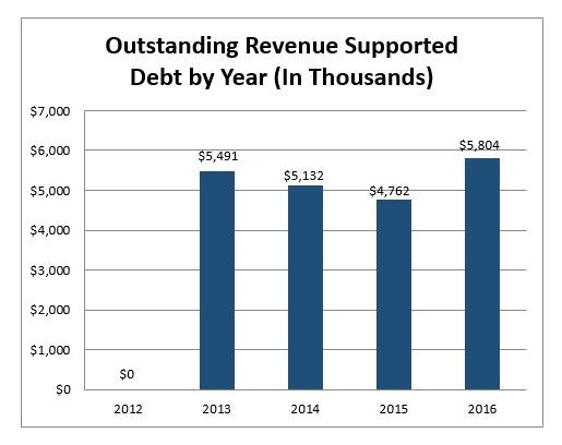 Outstanding Revenue supported debt by year