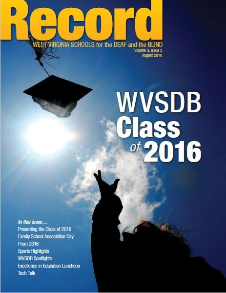 August 2016 Record cover showing a silhouette of a graduate throwing cap into the air