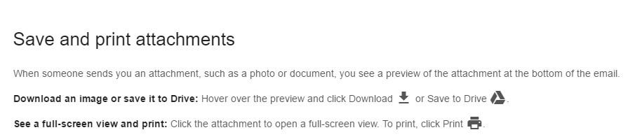 Saving and Printing Attachments Screenshot