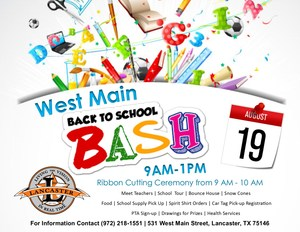 West Main Elementary Back to School Event Flyer