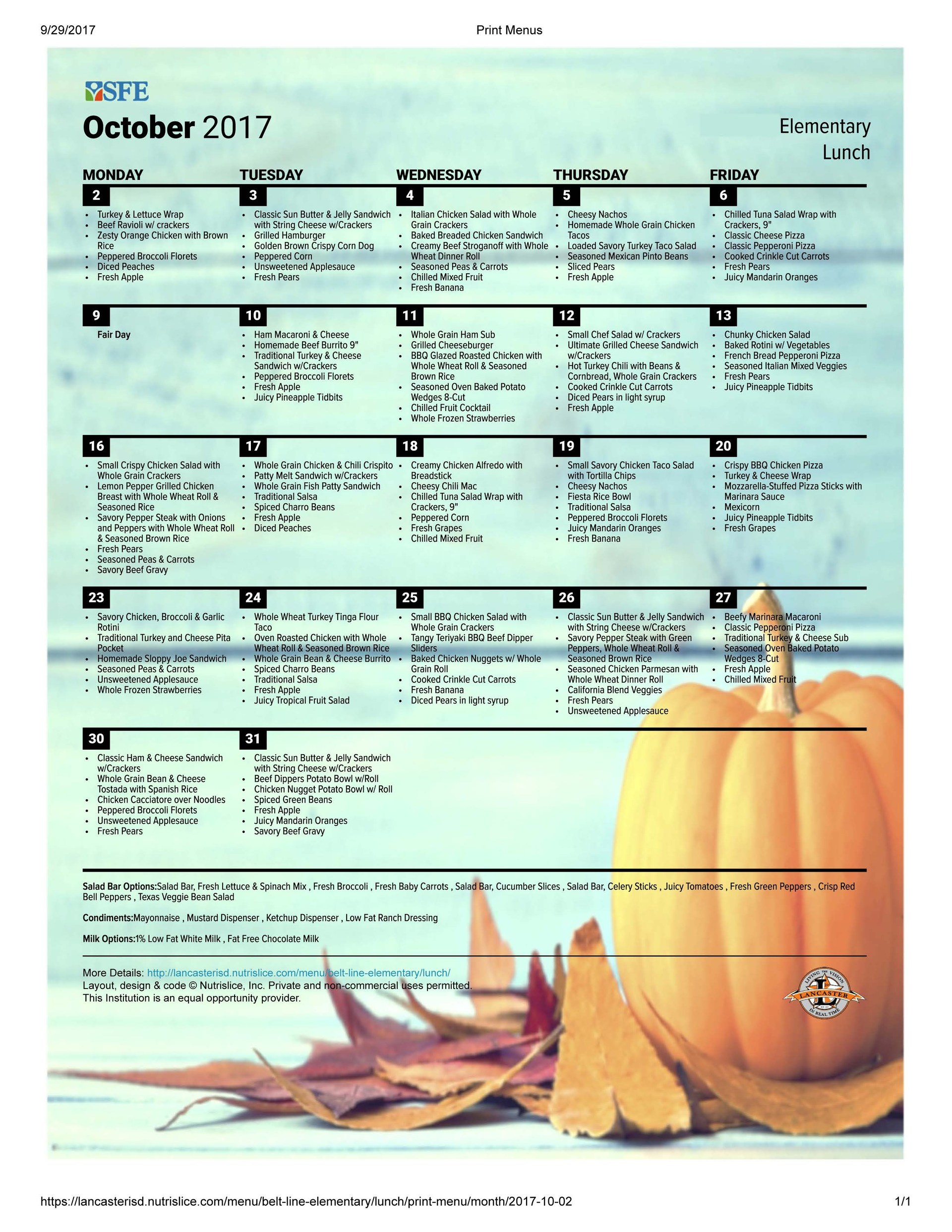 Photo of Elementary October Lunch Menu