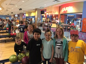 Students at the bowling alley.