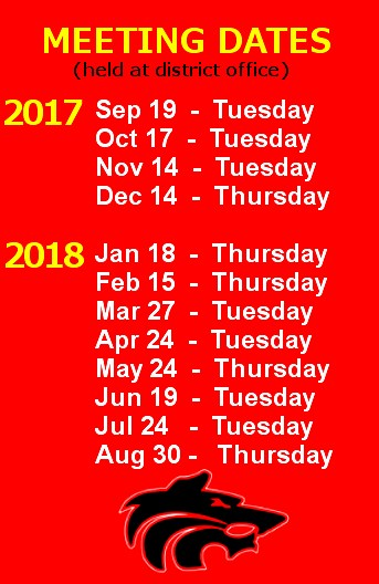 School Board Meeting Dates - Sep 19 Tuesday - Oct 17 Tuesday - Nov 14 Tuesday - Dec 14 Thursday - Jan 18 Thursday - Feb 15 Thursday - Mar 27 Tuesday - Apr 24 Tuesday - May 24 Thursday - Jun 19 Tuesday - Jul 24 Tuesday - Aug 30 Thursday