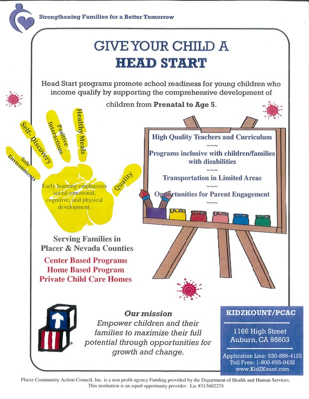 Flyer from Head Start