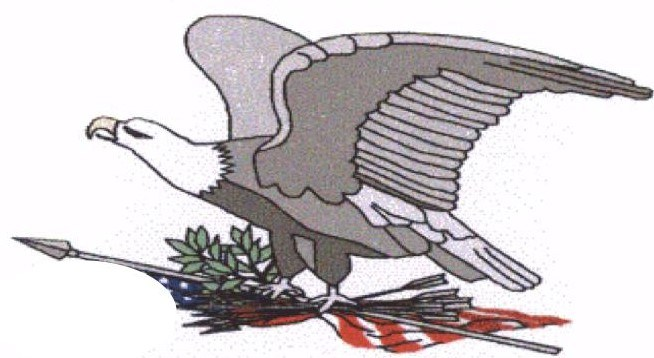 Image of an eagle holding the US flag, olive branches and arrows.