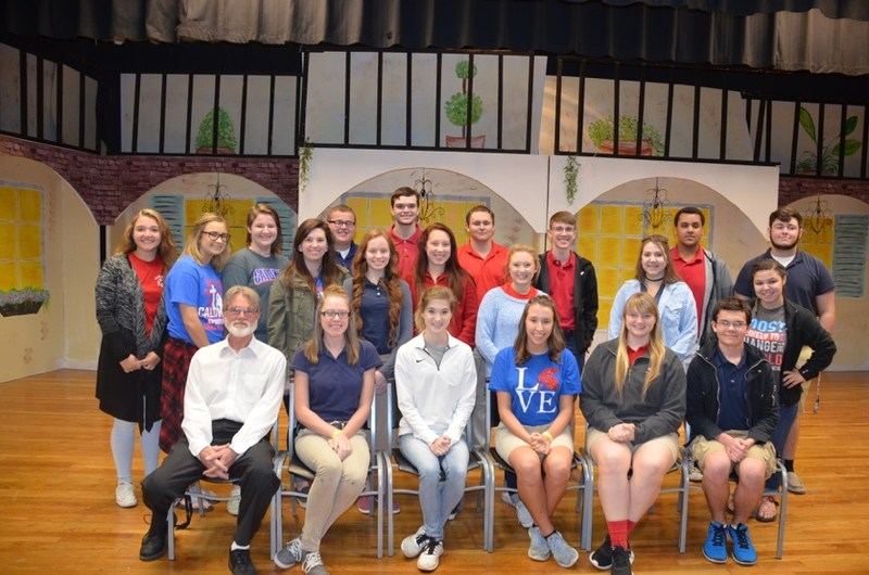 Front Row:  Mr. Donald Foy, Jordan Cagle, Gabby Trahan, Shelby Strange, Shannon Johnson, Hunter F. Strickland. Middle Row:  Shelbi Gonzales, Destiny Perot, Sarah Childers, Jenna Beckley, Gracie Crockett, Kirstyn Peterson, Andie Lindsey. Third Row:  Anna Spivey, Hannah Dombrowski, Jack McKeithen, Zach Brinson, Stellan Brooks, Cameron Rabalais, Chris Barnett, Adam Palmer. Not Pictured:  Mackenzie Howard, MacKenzie Patton